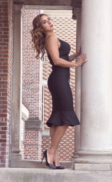 Just Two Girls... BRANDI Black Bandage Dress Side