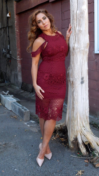 Just Two Girls... MOMENTUM Wine Lace Dress Front