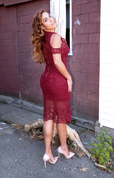 Just Two Girls... MOMENTUM Wine Lace Dress Back