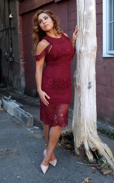 Just Two Girls... MOMENTUM Wine Lace Dress