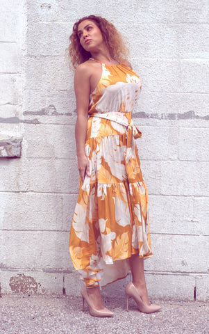 YVETTE Golden Leaf Dress