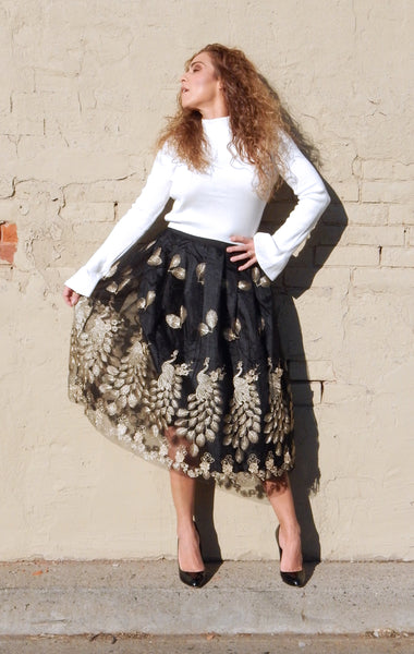 Just Two Girls... GOLDEN PEACOCK Black Skirt Front