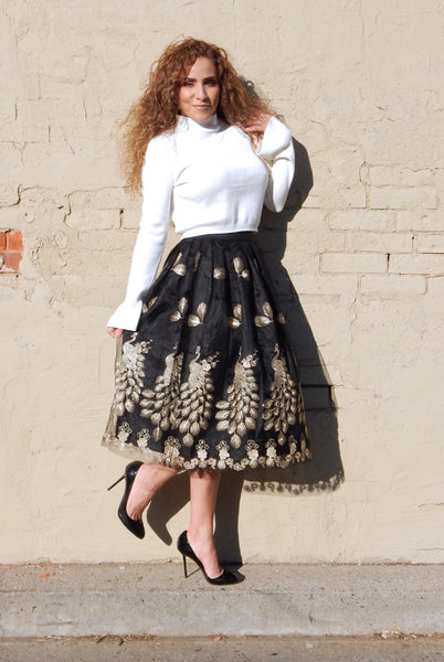 Just Two Girls... GOLDEN PEACOCK Black Skirt Alt