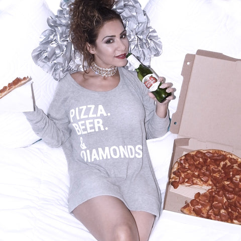 Just Two Girls... PIZZA, BEER & DIAMONDS Sweater