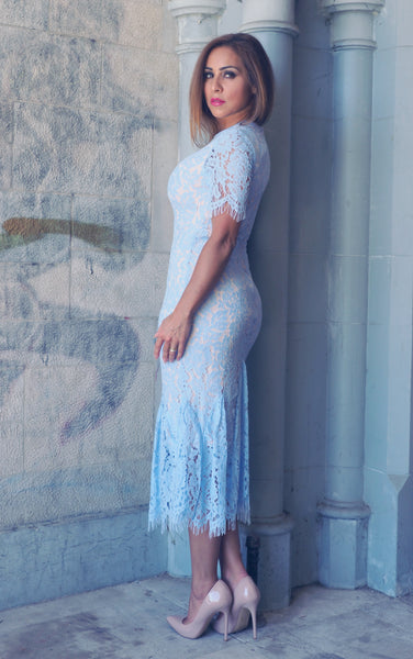 POWDER Blue Lace Dress