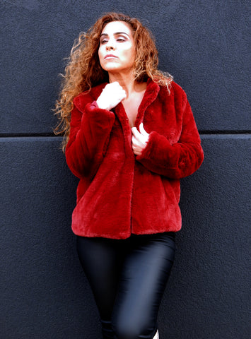 Just Two Girls... HEIDI Faux-fur Red Jacket