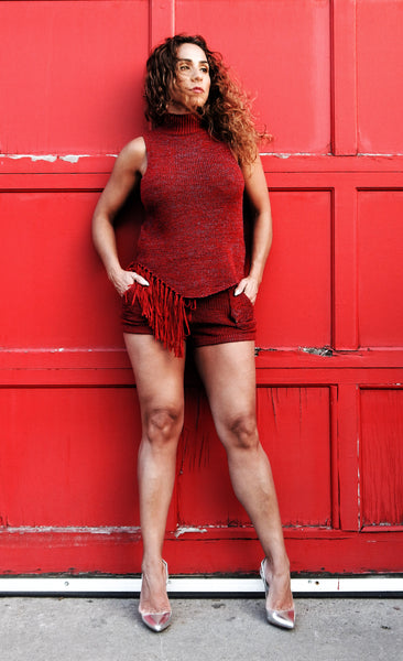 Just Two Girls... COLOMBO Red Knit Shorts Alt