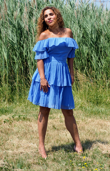 Just Two Girls... ROSALIE Pleated Dress Blue Front