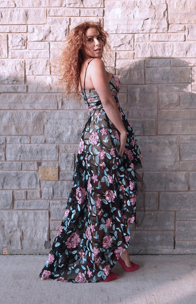 Just Two Girls... TWIRL Black Floral Embroidered Dress Back
