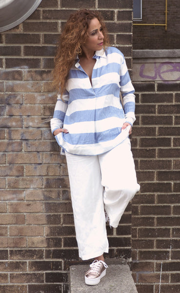 Just Two Girls... YACHT Blue and White Stripped Blouse Front