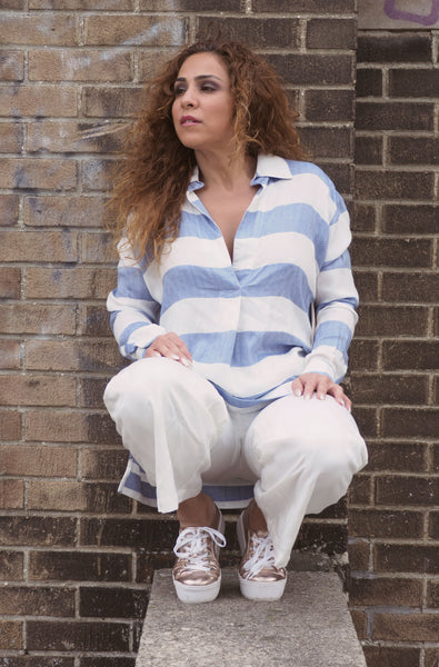 Just Two Girls... YACHT Blue and White Stripped Blouse Front Alt