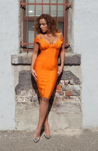 Just Two Girls... SANTINA Tangerine Dress Front