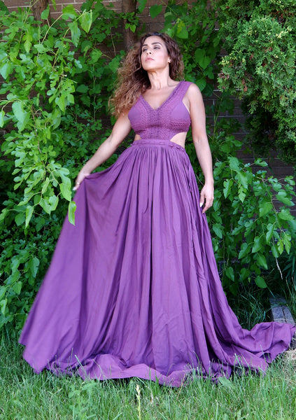 Just Two Girls... SERENADE Plum Maxi Dress Front