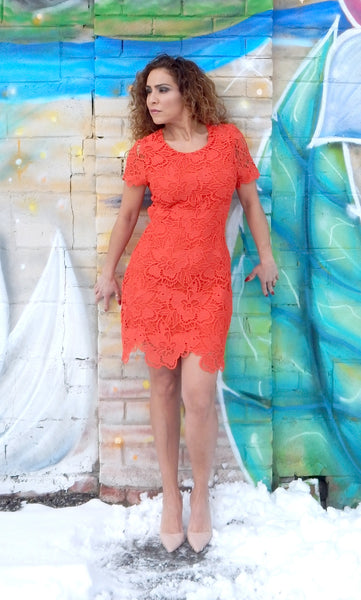 Just Two Girls... SUNSET Tangerine Lace Dress