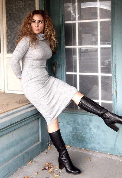 Just Two Girls...TABITHA Grey Turtle-neck Dress