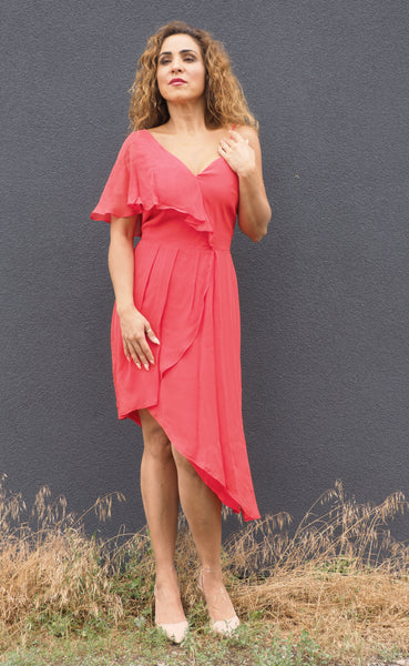 Just Two Girls... RITA Asymmetrical Dress Coral Front