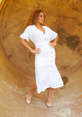 CHARLENE White Wrap Top