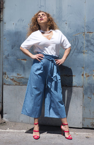 Just Two Girls... CULOTTE Light Blue Pant