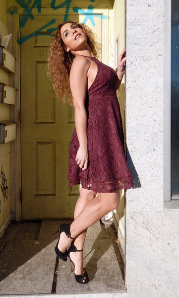 Just Two Girls...WINE Lace Dress