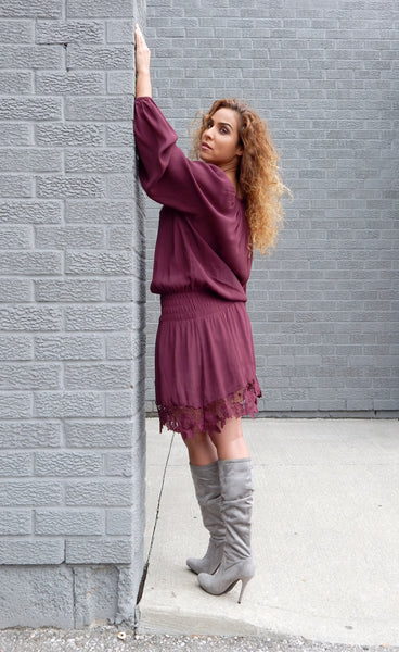 Just Two Girls... ELIZA Burgundy Dress Side