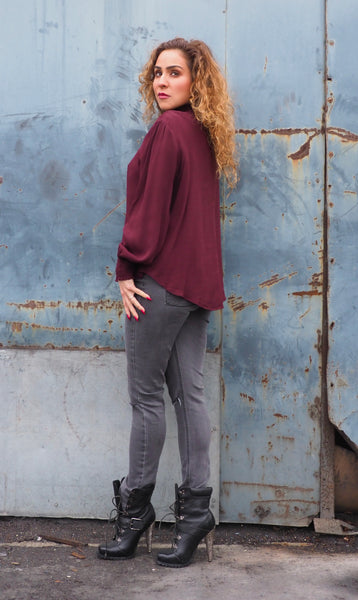 Just Two Girls... VICTORIA Bordeaux Blouse Back