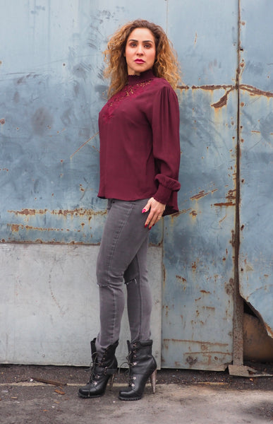 Just Two Girls... VICTORIA Bordeaux Blouse Side