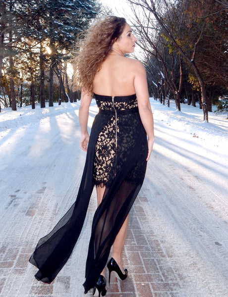 Just Two Girls...GALA Black Lace Gown