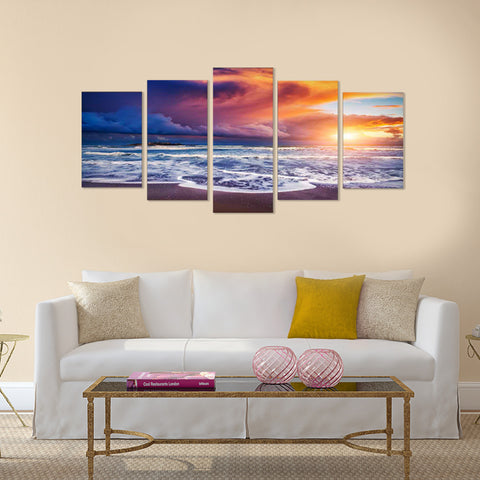 Thin Pink Line 5 Piece Canvas