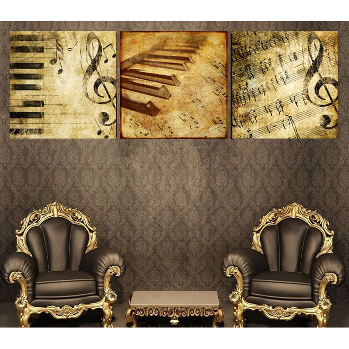 Limited Edition Classical Piano Music Notes 3 Piece Canvas