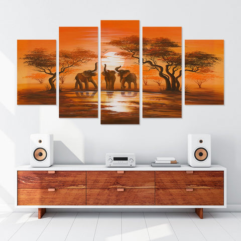 Fierce Wolf 5 Piece Canvas