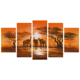 African Safari 5 Piece Canvas