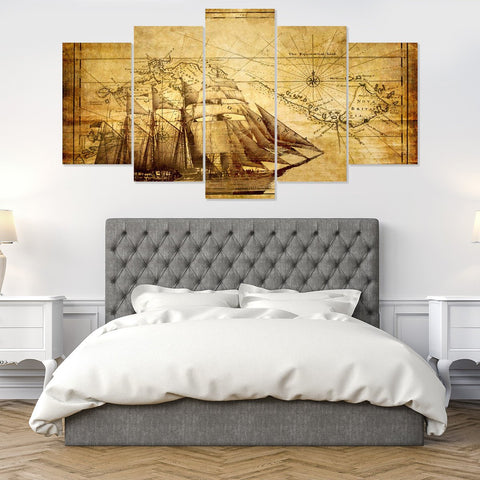 Eiffel Tower Sunset 5 Piece Canvas