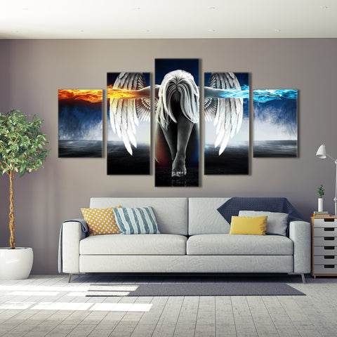 Flaming Skulls 5 Piece Canvas