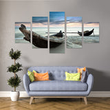 Antiquated Boat 5 Piece Canvas