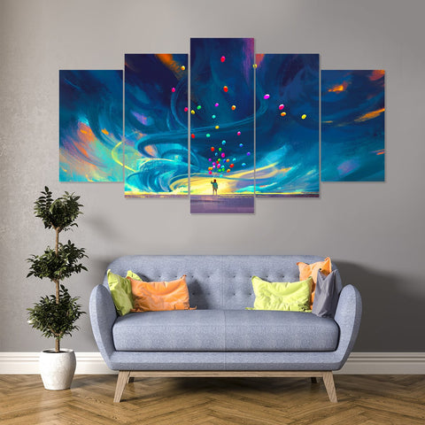 Gold Wave 5 Piece Canvas