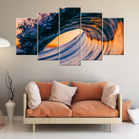 Thin Gold Line 5 Piece Canvas