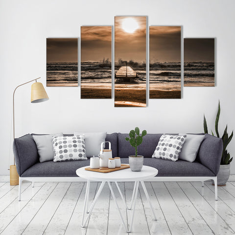 Alluring Beach Sunset 5 Piece Canvas