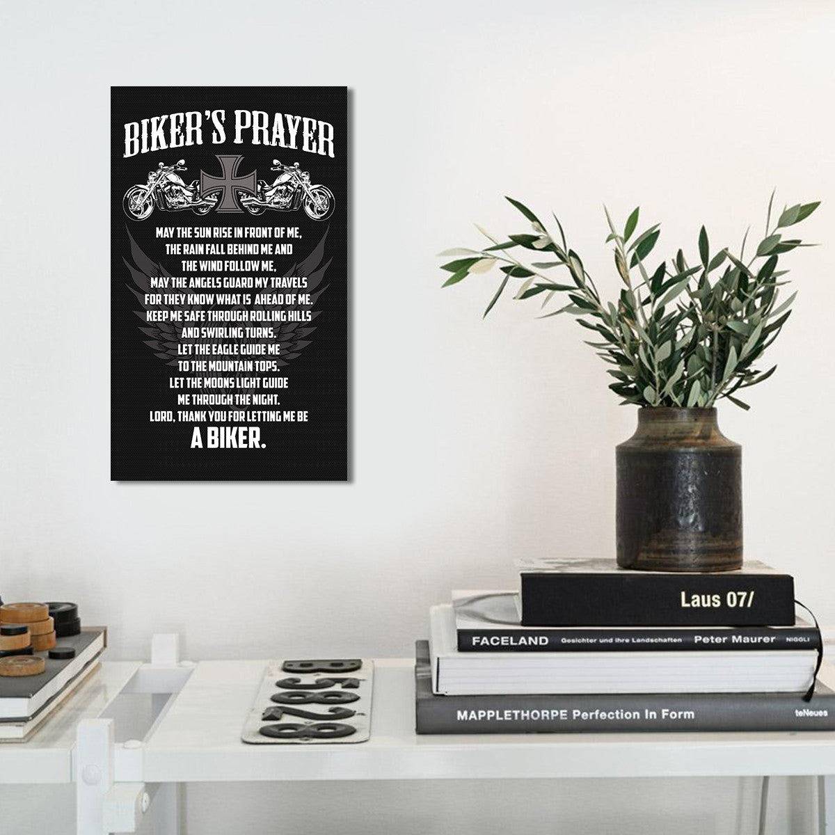 Biker's Prayer 1 Piece Canvas