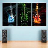 Blazing Guitars 3 Piece Canvas