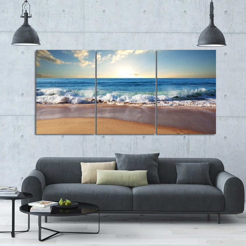Tree Sunset Shadows 3 Piece Canvas