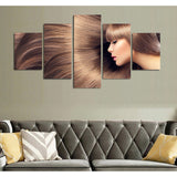 Sleek Brunette Hair 5 Piece Canvas