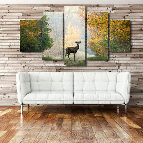 Deer in the Green 5 Piece Canvas