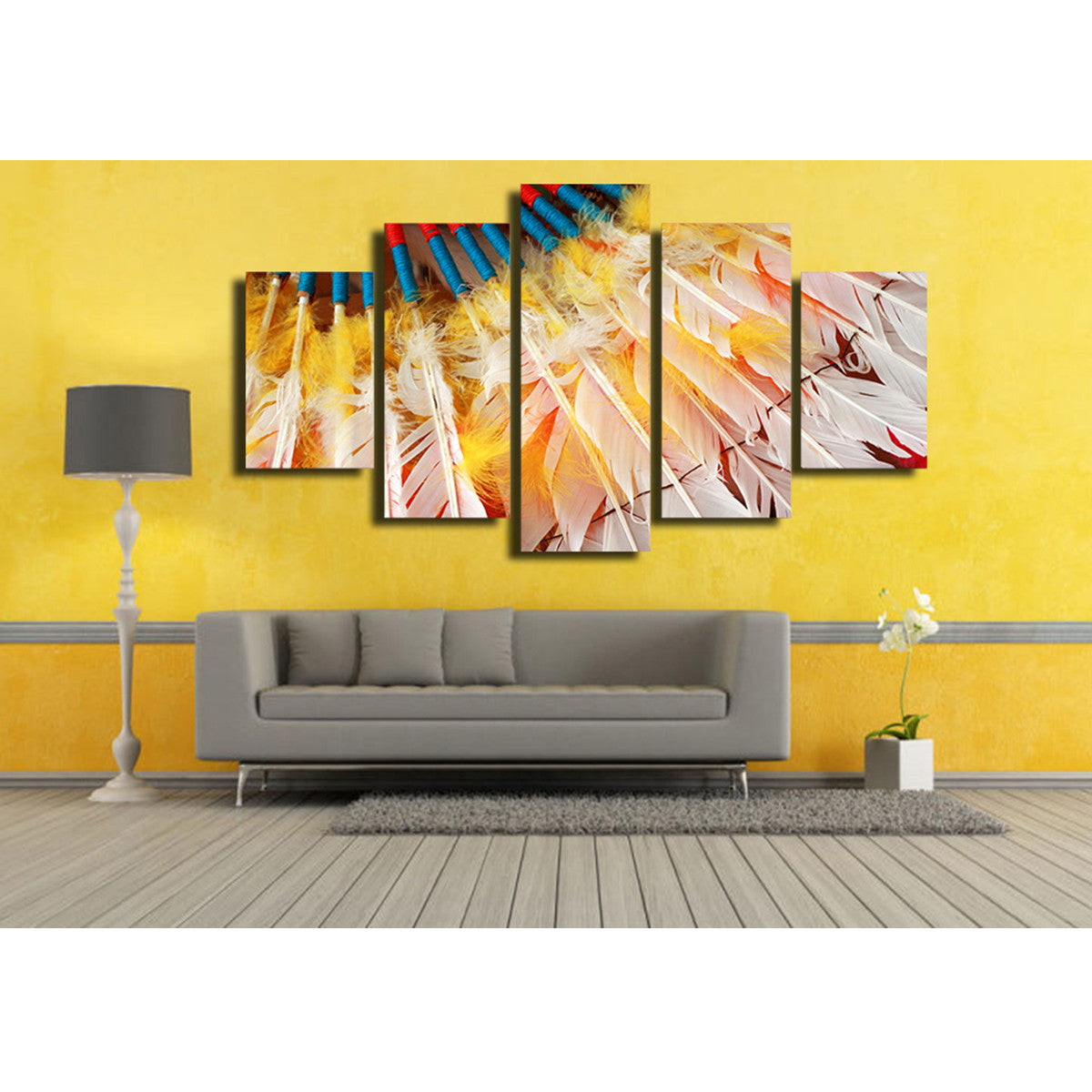 Native Feathers 5 Piece Canvas
