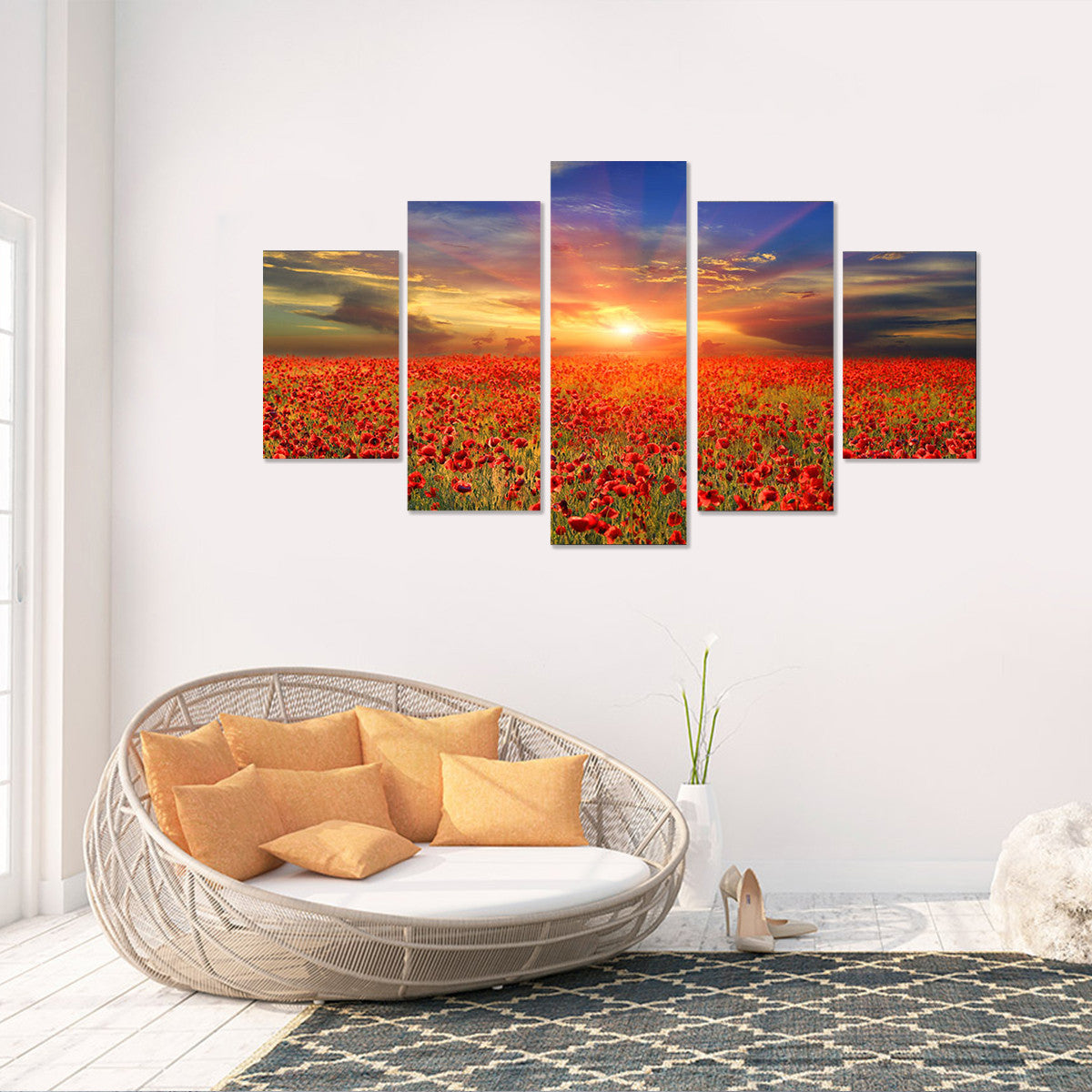 Sea of Flowers 5 Piece Canvas