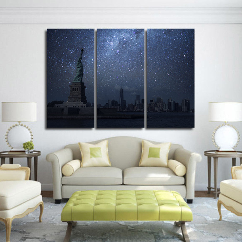 Liberty and the Stars 3 Piece Canvas