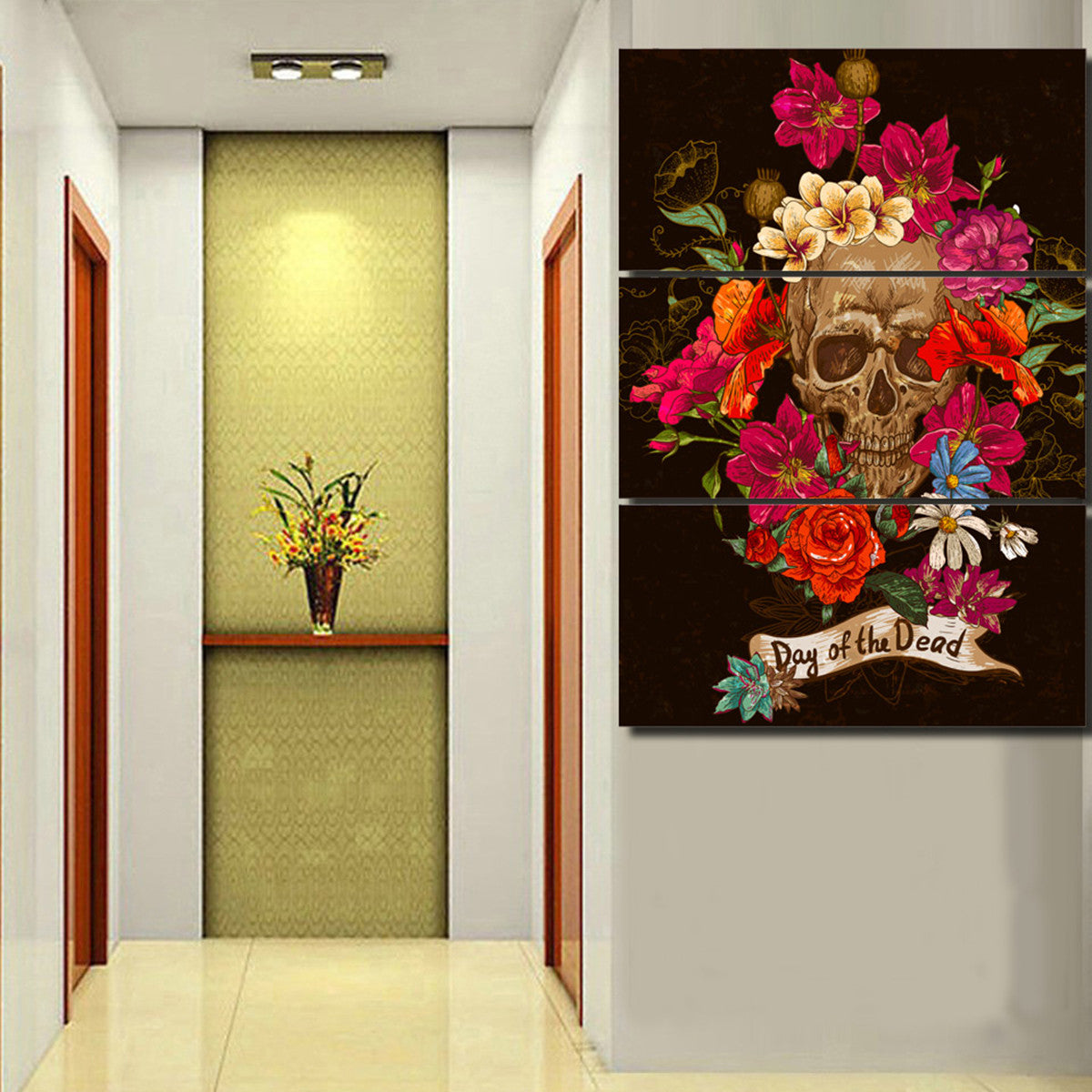 Day of the Dead Flowers 3 Piece Canvas