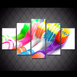 Toothbrush Colors 5 Piece Canvas