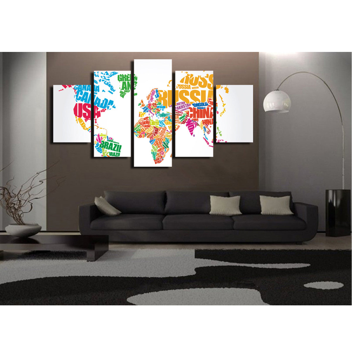 Country Names Colored Map 5 Piece Canvas