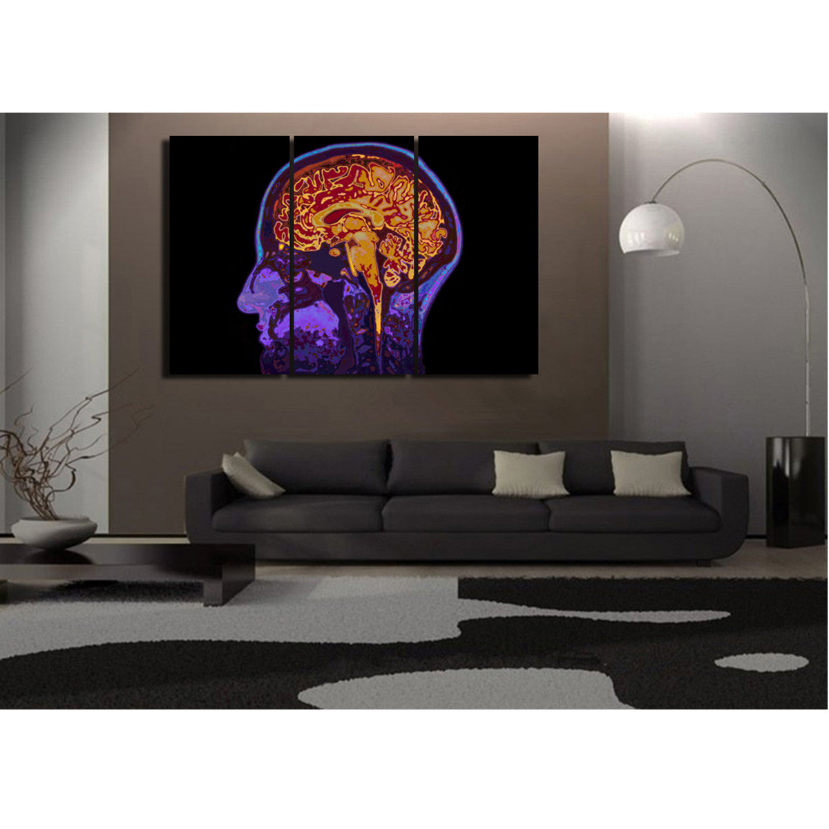 See Through Brain 3 Piece Canvas