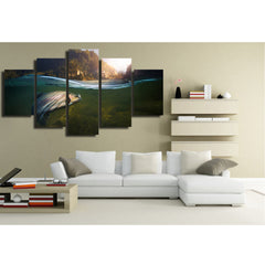 Surfing Reflection 5 Piece Canvas